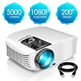 Beamer, ELEPHAS [Upgrade Version] 1080P Full HD 5000 Lumen 200' LCD Beamer, fr Film Unterhaltung...