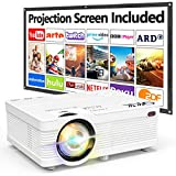 QKK Beamer Unterstützt 1080P Full HD, 5000 Lumen Mini Projektor mit Screen, Native 720P HD Video...