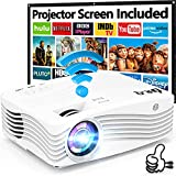 DR.Q Native 1080P WiFi Beamer [mit 120″ Beamer-Leinwand], 7500 Lumens Beamer Full HD, Beamer WLAN...